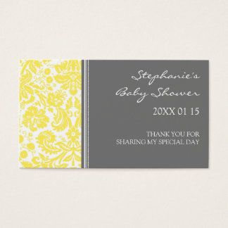 Grey Yellow Damask Baby Shower Favor Tags