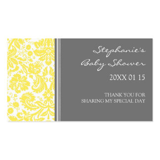 Grey Yellow Damask Baby Shower Favor Tags Double-Sided Standard Business Cards (Pack Of 100)