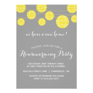 GREY YELLOW LANTERNS HOUSEWARMING PARTY INVITATION