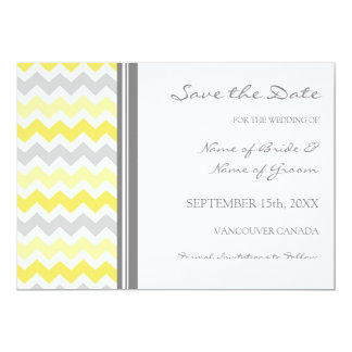 Grey Yellow Photo Wedding Save the Date Card Invitations