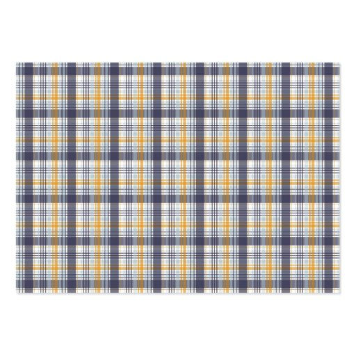 Grey Yellow Plaid Business Card
