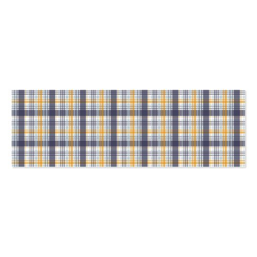 Grey Yellow Plaid Double-Sided Mini Business Cards (Pack Of 20)