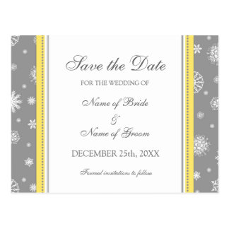 Grey Yellow Save the Date Winter Wedding Postcard