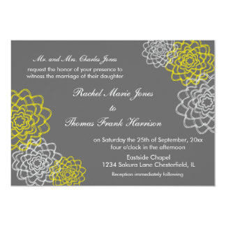 Grey/Yellow Sketched flowers Wedding Invite