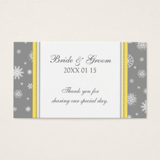 Grey Yellow Snowflakes Winter Wedding Favor Tags