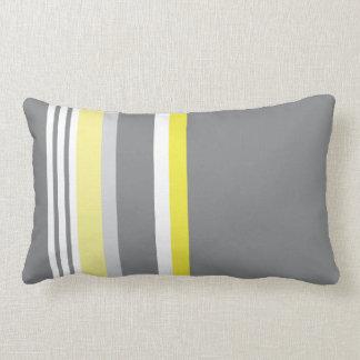 Grey (Yellow stripe) Throw Pillow