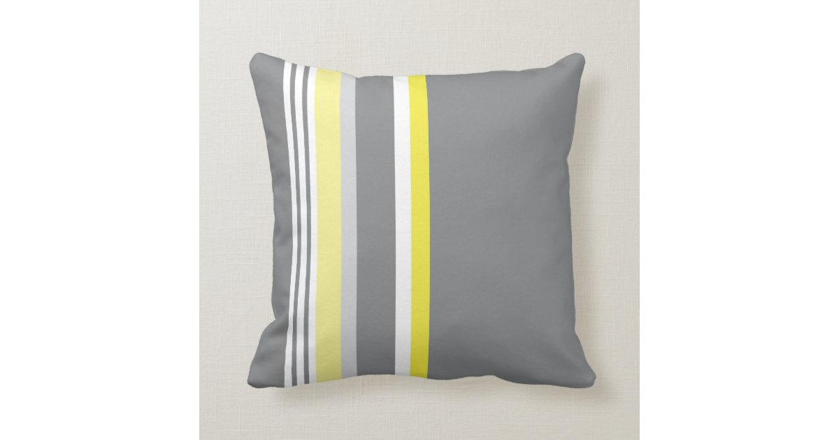 Yellow Striped Throw Pillows : Grey (Yellow stripe) Throw Pillow Zazzle