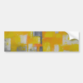 grey yellow white abstract art painting bumper sticker