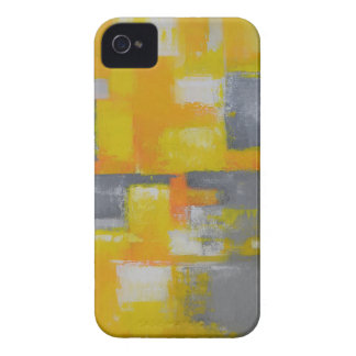 grey yellow white abstract art painting iPhone 4 Case-Mate case