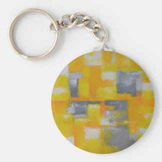 grey yellow white abstract art painting keychain