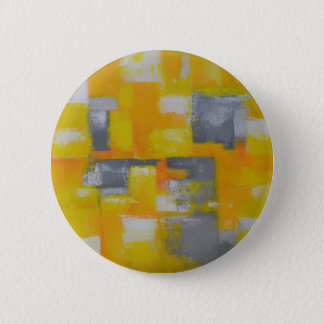 grey yellow white abstract art painting pinback button