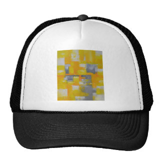 grey yellow white abstract art painting trucker hat
