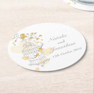 Grey, yellow & white bird cage wedding coasters