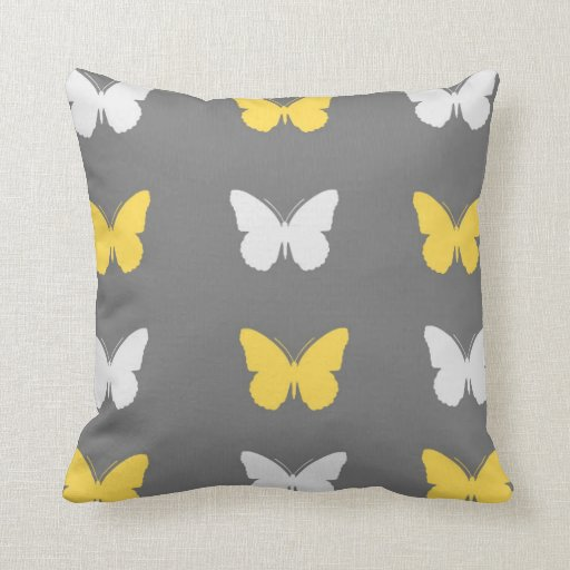 Grey,Yellow, & White Butterfly Throw Pillow