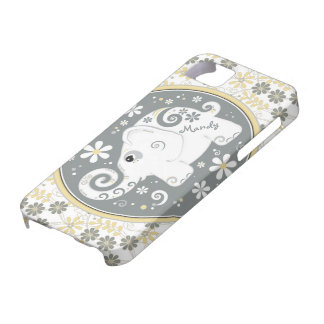 Grey Yellow White Elephant Floral iPhone 5 Case