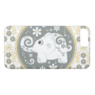 Grey Yellow White Elephant Floral iPhone 6 case