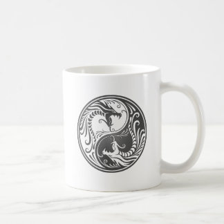 Grey Yin Yang Dragons Coffee Mug