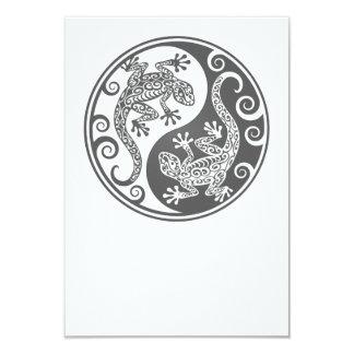 Grey Yin Yang Lizards 3.5x5 Paper Invitation Card