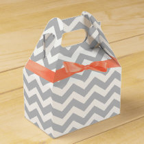 Grey Zigzag and Coral Bow Favor Box