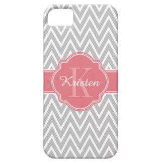 Grey Zigzag Chevron Pattern Pink Monogram iPhone 5 Covers