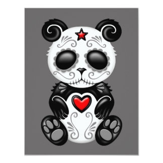 Grey Zombie Sugar Panda 4.25x5.5 Paper Invitation Card