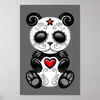 Grey Zombie Sugar Panda Poster