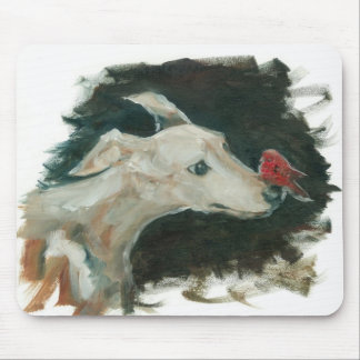 Greyhound and Finch painting on mouse pad