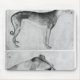 Greyhound and head of a greyhound mouse pad