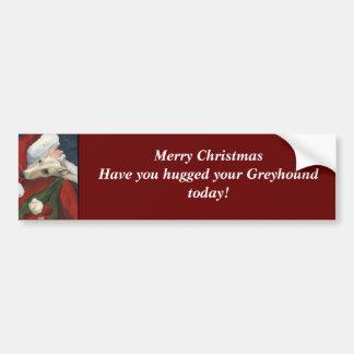 Greyhound and Santa Dog Art Bumper Sticker
