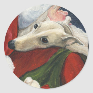 Greyhound and Santa Dog Art Christmas Sticker