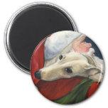 """Greyhound and Santa"" Dog Art Magnet"