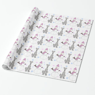Greyhound And Snowman Wrapping Paper