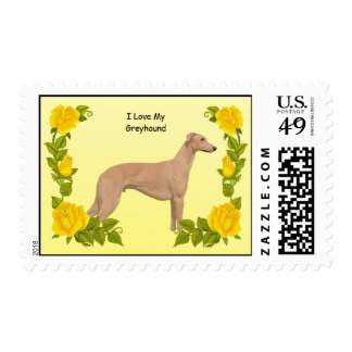 Greyhound and Yellow Roses Postage