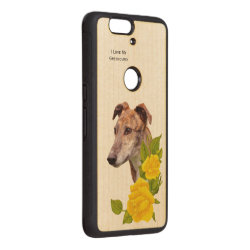 Carved ® Google Nexus 6p Bumper Wood Case with Greyhound Phone Cases design