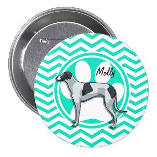 Greyhound; Aqua Green Chevron Pins
