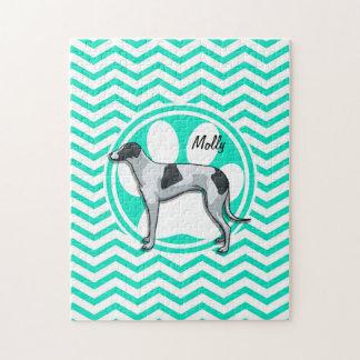 Greyhound; Aqua Green Chevron Jigsaw Puzzles