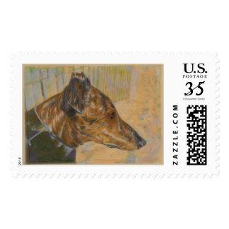 Greyhound art stamp - brindle