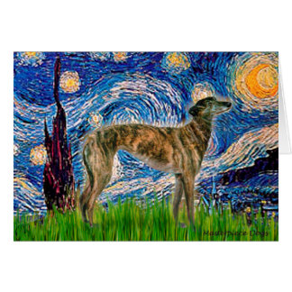 Greyhound (br2) - Starry Night Greeting Card
