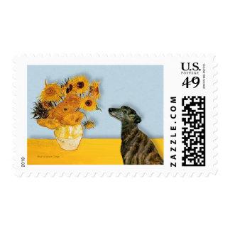 Greyhound (br2) - Sunflowers Postage Stamp