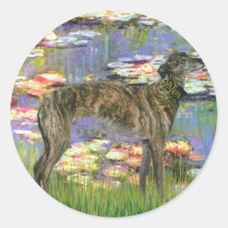 Greyhound (br8) - Lilies 2 Classic Round Sticker