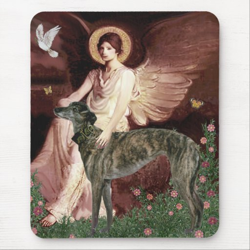 Greyhound (br) - Seated Angel Mouse Pad