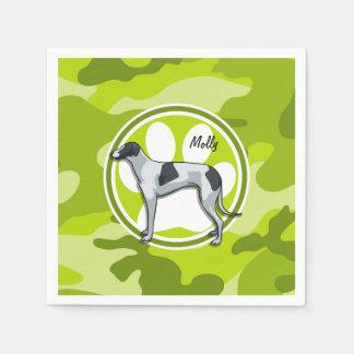 Greyhound; bright green camo, camouflage disposable napkins
