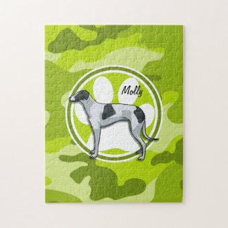 Greyhound; bright green camo, camouflage jigsaw puzzle