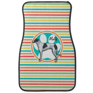 Greyhound; Bright Rainbow Stripes Car Floor Mat