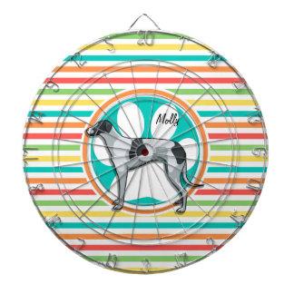 Greyhound; Bright Rainbow Stripes Dartboards