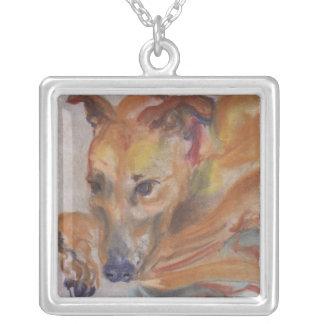 Greyhound by Louis Slovinsky Square Pendant Necklace