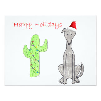 Greyhound Cactus Christmas 4.25x5.5 Paper Invitation Card