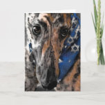 "Greyhound card for Chanukah / Hanukkah / Passover<br><div class=""desc"">The card image is from a drawing I did of Tipper an ex-racing greyhound now in her forever home.    Tipper is a brindle greyhound all dressed up in her Star of David bandana.</div>"