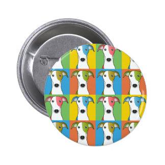 Greyhound Cartoon Pop-Art Buttons
