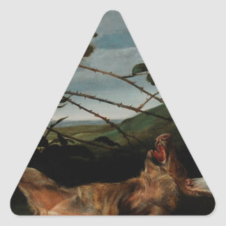 Greyhound Catching a Young Wild Boar Frans Snyders Triangle Sticker